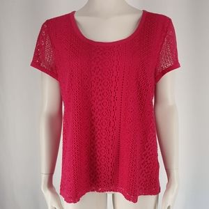 Nine West | Lace Layered Short-sleeve Top